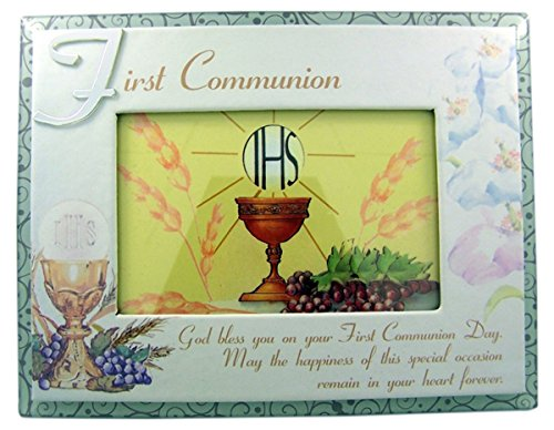 First Communion Religious Glass Overlay Picture Frame, 4 x 6 Inch by First Communion Picture Frame