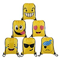 BeeGreen Cute-Emoji-Party-Supplies-Favors-Bags Drawstring Backpacks for Teens