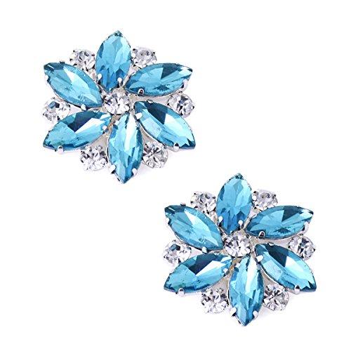 ElegantPark AJ Shoes Dress Hat Accessories Fashion Rhinestones Crystal Shoe Clips 2 Pcs Sky Blue