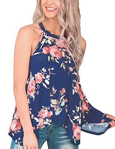 DDSOL Floral Shirts for Women Flowy Summer Tops Cute Blouses High Neck Tank Tops Blue