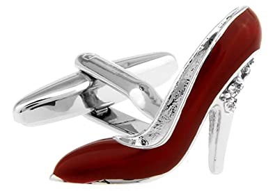 6a93457db88ad LBFEEL High-Heeled Shoes Cufflinks for Women in Black and Red with a Gift