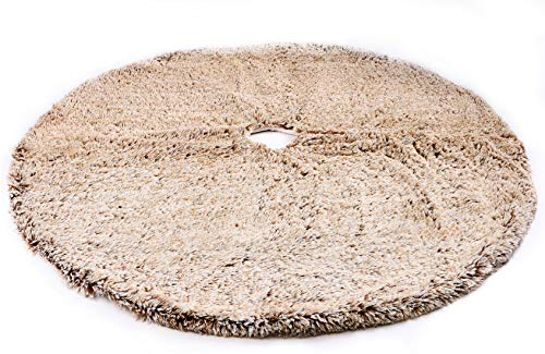 (Wishdiam 48 inch Brown Faux Fur Furry Christmas Tree Skirt Luxury Soft Double Layers Xmas Decorative Handicraft for Holiday Party Pet Favors Spot)