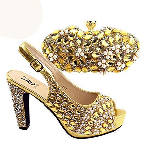 Italian Shoes and Bag to Match Shoes with Bag Set Silver Color Shoe and Bag Set for Party in Women Nigerian Shoe and Bag Gold 41