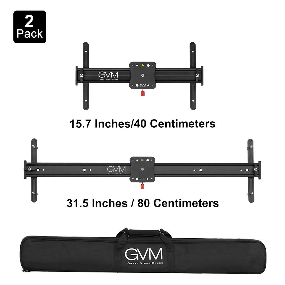 GVM 2 Size 15.7'' and 31.5'' Portable Aluminum Alloy Camera Slider Video Stabilizer Rail with 4 Roller Bearings for DSLR Camera DV Video Camcorder Film Photography, Dolly Track Loads up to 11 pounds by GVM Great Video Maker