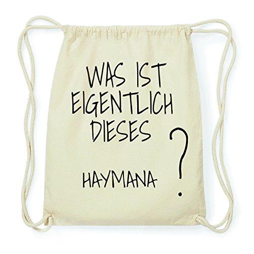 JOllify HAYMANA Hipster Turnbeutel Tasche Rucksack aus Baumwolle - Farbe: natur Design: Was ist eigentlich