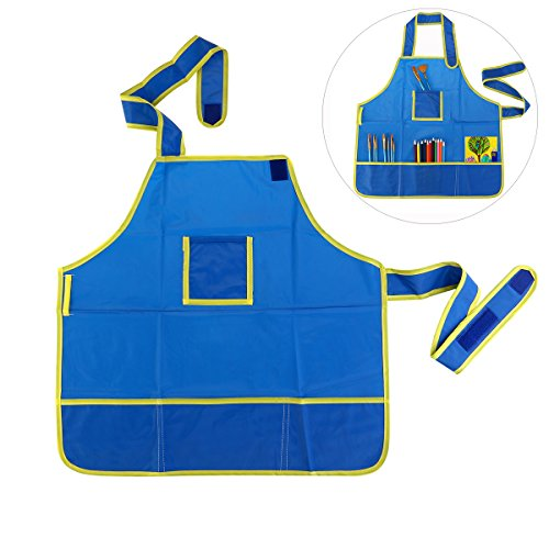 ULTNICE Wasserdichte Bastelkittel Bastelschürze Malschürze für Kinder (Blau)