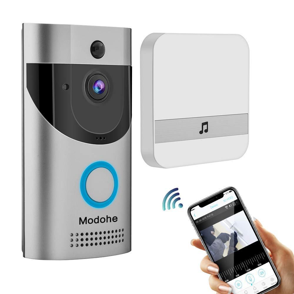 Modohe Sonnette sans fil vidé o Full HD 1080p, capteur CMOS 5 mé gapixels HD bidirectionnelle parler Wifi-connected Sonnette capteur CMOS 5mégapixels HD bidirectionnelle parler Wifi-connected Sonnette