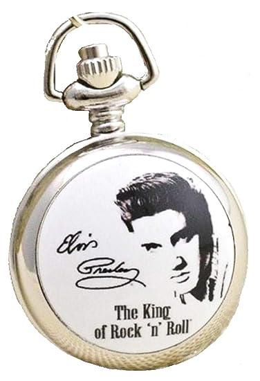 Elvis Presley - Collar de Reloj de Bolsillo con Cadena bañada en Plata, en Caja de Regalo con batería de Repuesto Gratis: Amazon.es: Relojes