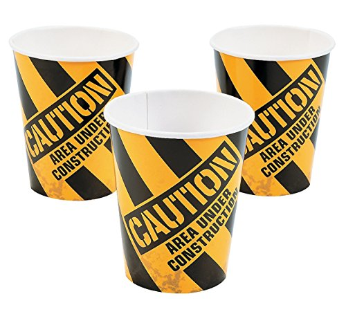 Construction Zone 9oz Cups (8 Pack) - Party Supplies (Sold Table Paper Under Separately)