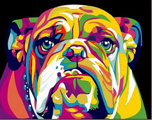 YEESAM ART Paint by Numbers for Adults Kids, Bulldog Colorful Animals Neon Dog 16x20 Inch Linen Canvas Acrylic DIY Number Painting Kits Wall Art Decor Gifts (Framed)