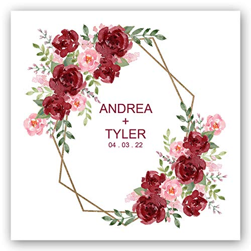 Vibrant Floral Personalized Luncheon Napkins- 100 Custom Printed White Uncoined Napkins. 6 1/2'' x 6 1/2'' folded. Made in the USA -