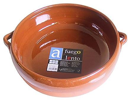 A Fuego Lento Cazuela Abombada Horno, Barro, Miel, 28 cm: Amazon ...