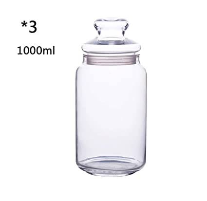 RSTJ-Sjkw Spice Jar 3 Ronda De Vidrio Transparente Especias Botellas con Tapas De Vidrio