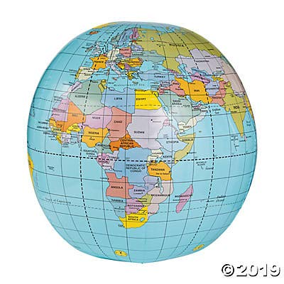 Giant Inflatable Globe Beach Ball (40 Inch Inflated) - World Globe by Fun Express ()