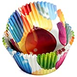Chef Craft Paper Patterned Cupcake Liners, 50 count, Red/Yellow/Blue/Green/White
