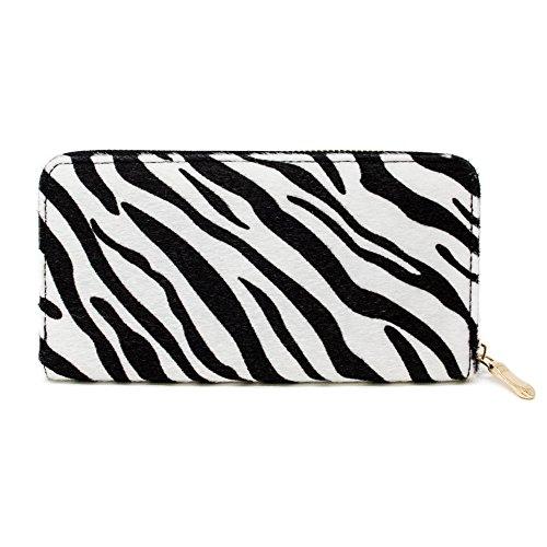 (Me Plus Women Faux Fur Animal Print Furry Leopard Zebra Wallet Zipper Closure Card Slots Zippered Coin Pouch (Zebra-White))