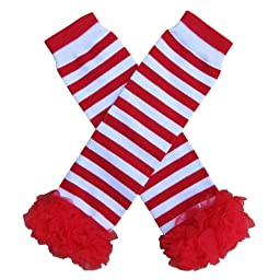 Chiffon Ruffle Tutu Christmas Holiday Winter Styles Leg Warmers - One Size - Baby, Toddler, Girl (Chiffon Red & White Stripe with Red)