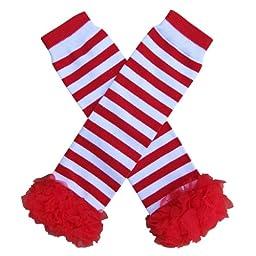 Chiffon Ruffle Tutu Christmas Holiday Winter Styles Leg Warmers - One Size - Baby, Toddler, Girl (Chiffon Red & White Stripe with Red)