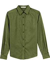Port Authority® Ladies Long Sleeve Easy Care Shirt. L608 Clover Green 4XL