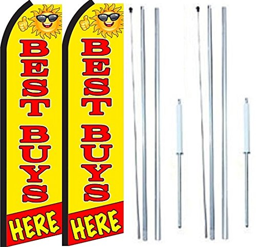 Best Buys Here King Swooper Flag Sign With Complete Hybrid Pole set - Pack of 2 by OnPoint Wares