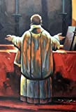 100% Hand Painted Roman Catholic Priest Altar Mass Canvas Home Wall Art Oil Painting by Well Known Artist, Framed, Ready to Hang