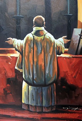 - 100% Hand Painted Roman Catholic Priest Altar Mass Canvas Home Wall Art Oil Painting by Well Known Artist, Framed, Ready to Hang