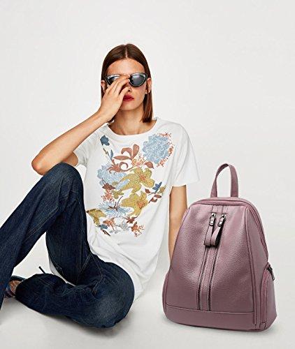 NICOLE&DORIS Moda Bolsa para la escuela Viajar Bolsa de hombro Mochila Bolso Cartera Chicas Mochila PU Cuero Azul Rosado