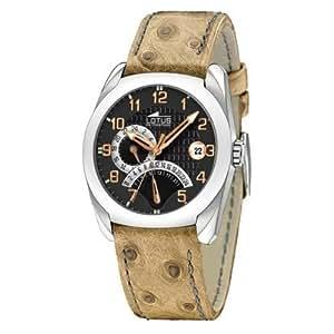 Lotus 15420-6 - Reloj analógico de caballero de cuarzo con correa de piel marrón - sumergible a 50 metros