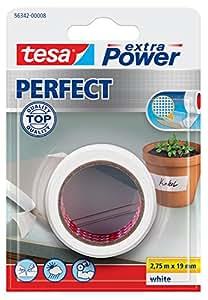 TESA extra Power Perfect - Cinta adhesiva (Color blanco, Cartón, Papel, Ampolla)