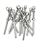Muzata Threaded Terminal Stud End Fitting, for 1/8'' Cable Deck Railing, Hand Swage, Stainless Steel T316 Marine Grade, 20 Pack