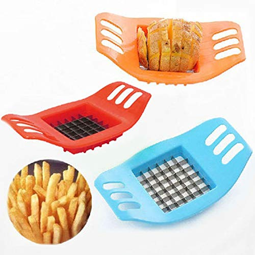 Kitchen Accessories - Potato Cutter Stainless Steel Cucumber Carrot Vegetable Fried Chips Diy Ware Gadgets - Red Set Sponge Egg India Utensil 10 Utensils Cup Music (Best Vegetable Cutter India)