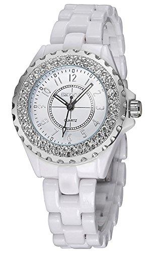 Luxury Fashion Waterproof Sports Diamonds Luminous Women Dress Quartz White Ceramic Watch