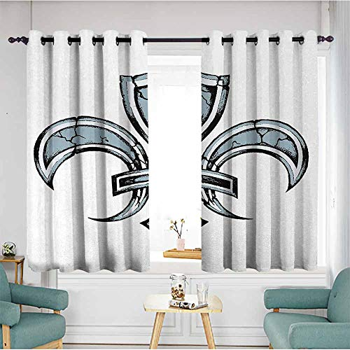 (Fleur De Lis Printed insulation curtain Grungy Lily Retro Renaissance Spirit Element Victory Holy Artwork Print Home Garden Bedroom Outdoor Indoor Wall Decorations 55