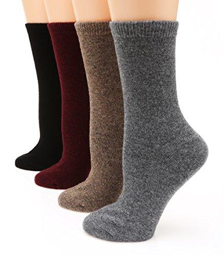 MIRMARU M111 Women's Premium Winter 4 Pairs Wool And Cotton Blend Crew Socks Collection (DarkGrey,Camel,Burgundy,Black),Medium / Shoe Size:6-9.