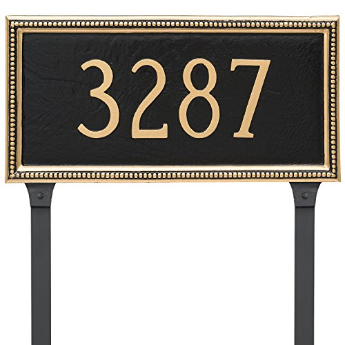 Montague Metal PCS-0075S1-L-BG Verona Rectangle One Line Address Sign Plaque with Lawn Stake, 8.5