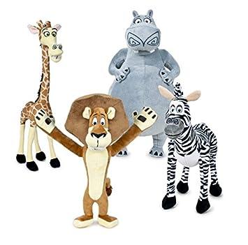 Madagascar Pack 4x Peluches Alex León, Marty Cebra, Gloria Hipopótama y Melman Jirafa 35cm
