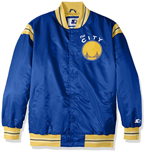 (STARTER NBA Golden State Warriors Men's The Enforcer Retro Satin Jacket, Large, Royal)