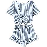 Jollymoda Women's 2 Piece Boho Floral Print Crop Cami Top with Shorts Set (Blue, L)