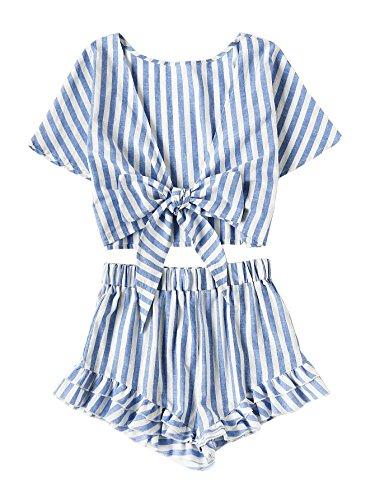 Jollymoda Women's 2 Piece Boho Floral Print Crop Cami Top with Shorts Set (Blue, ()