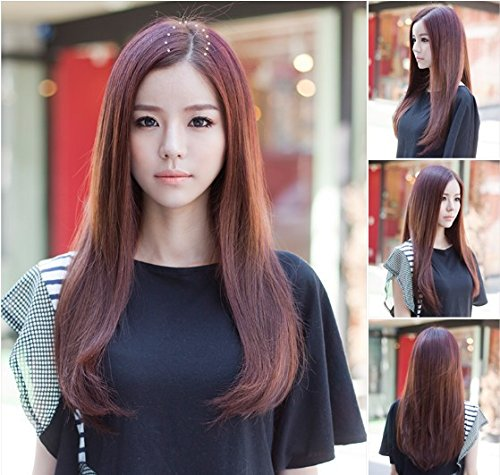 - Wig hair wig repair face forced volume carve Ms. women girls female micro scroll half wig with long straight hair pear
