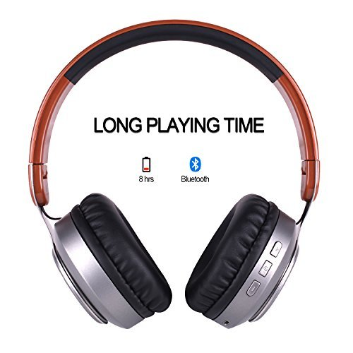 Over Ear Headphones, Bluetooth Wireless Headset V4.2 Stereo Surround Foldable Earphone With 3.5mm audio cable jack, Support Microphone and USB Charging for Samsung Smartphone iPhone, iPad, iPod,Table by Base