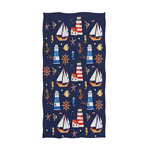Nautical Anchor Boat Lighthouse Starfish Sea Horse Pattern Soft Guest Hand Towel for Bathroom, Hotel, Gym and Spa, 11.8x35.5 Inches (Polka Dot Flour Sack Towels)