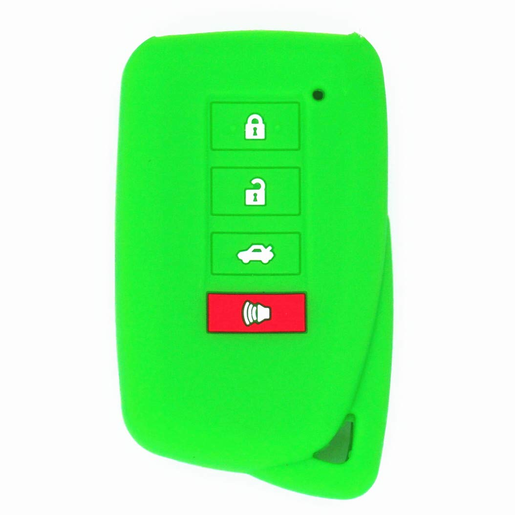 WFMJ Green Silicone Remote Smart 4 Buttons Key Chain Cover Case Fob for Lexus ES300h GS350 GS450h is F IS250 IS350 LS460 LS600h ES350 NX300h RC F NX200t