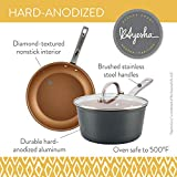 Ayesha Curry Home Collection Hard Anodized Nonstick Sauce Pan/Saucepan with Lid, 2 Quart, Gray