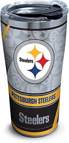 - Tervis 1266676 NFL Pittsburgh Steelers Edge Stainless Steel Tumbler with Clear and Black Hammer Lid 20oz, Silver