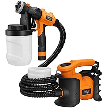 Tacklife SGP16AC 6.5Amp 1100ml/min Professional Spray Gun Three Spray Patterns, Three Copper Nozzle Sizes and 2 X 1200ml Detachable Containers with Spray Width Lever ,Adjustable Valve Knob, Air Hose