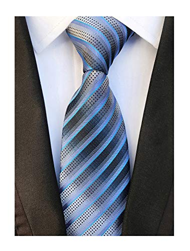 Men's Blue Grey Striped Neck Tie Accessory Evening Summer Wedding Casual - Suit Gray Striped