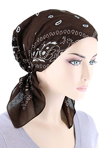 Paisley Bandana Scarf Pre Tied Cotton Chemo Hat Turban for Cancer Brown (Brown Cotton Beanie)