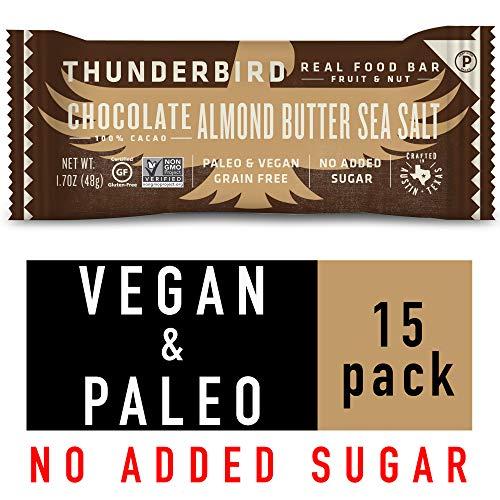 Thunderbird Paleo and Vegan Snacks - Real Food Energy Bars - Fruit & Nut Nutrition Bars - No Added Sugar, Grain and Gluten Free, Non-GMO, 15 Pack (Chocolate Almond Butter Sea Salt)