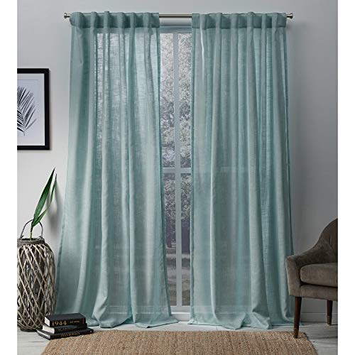 Exclusive Home Bella Sheer Hidden Tab Top Curtain Panel Pair, Seafoam, 54x84